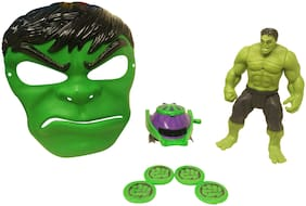 Barodian's 4 in 1 hulk Action Figure with Mask for Kids Super Hero Cartoon Plastic Mask - Avengers Birthday Party Props Return Gift (Spider Man, Medium)