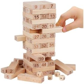 Barodian's 51 pcs Blocks 4 Dices Wooden Tumbling Stacking Building Tower Game