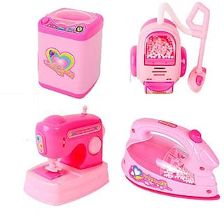 Barodian's Household Set for Kids (Set of 4) Pretend Play Set Includes Toaster, Mixer, Juicer and Coffee Machine, Best Household Set Toy for Kids (Pink, Medium)