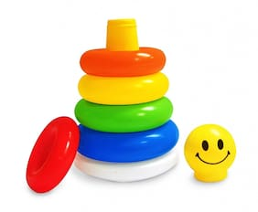 Barodian's  Junior Smiley Stacking Multicolour 5 Rings for Toddlers