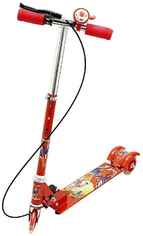 Barodian's Kids 3 Wheel Foldable Scooter with Height Adjustment & Led Light on Wheel(Break and Bell) RED Colour