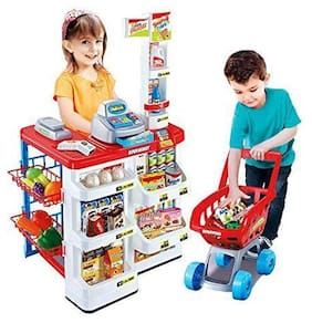 Barodian's Kids Role Pretend Playset Big Size Supermarket kit for Kids Toys with Shopping Cart and Sound Effects | Kitchen Set Kids Toys for Boys and Girls