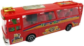Barodian's Trendy Luxurious Travel Bus Toy in Red Color with Lights and Music for Kids