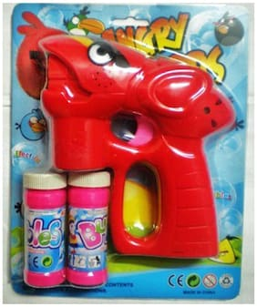 Battery Operated High Speed Bubble Gun Toy with 2 Liquid Bottles