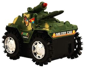 Battery Operated Military Shade Tumbling Tank Action Stunt Car with Red Top Flashing Light (Assorted Color)