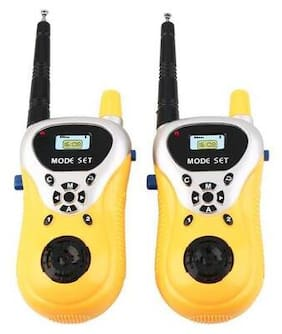 Battery Operated Plastic Walkie Talkie Set with Extendable Antenna for Extra Range for Kids (Yellow) By Signomark.