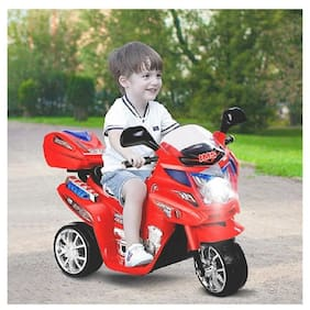 OH BABY Baby Battery Operated Bike With Musical Sound And Back Basket 3-Wheel Battery Operated Ride On Bike With Music;Horn;Headlights With 25 Kg Weight Capacity For Your Kids