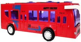 Battery Operated Red Luxury Model Bus Toy with Light & Sound Effect