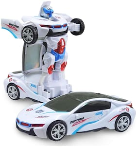 Battery Powered white BMW Transforming Robot Toy