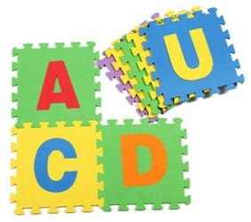 Bazaar Gali Latest Puzzle Matt For Kids Alphabet & Number (36 Tiles Small) (Assorted Color) Pack of 1