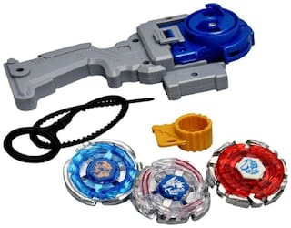 BBS DEAL 3 in 1 Beyblades Metal Fighter Fury with Metal Fight Ring and Handle Launcher - Multi Color