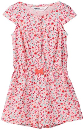 Beebay Cotton Printed Bodysuit For Girl - Pink