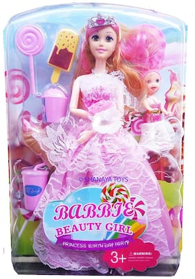 Shanaya Beautiful Birthday Princess Doll with Baby, Ice Cream , Candy & Other Toys Dolls for Girls - Multicolor