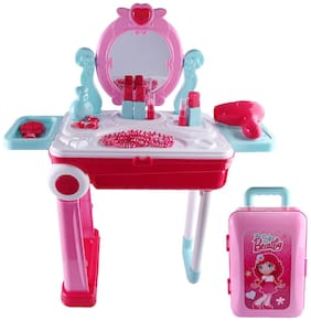 Beauty Makeup Pretend Play Toy Set for Girls Make up Pull Along Briefcase Cum Trolley Beauty Workbench Suitcase Toy with Music & Light for Kids