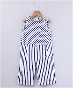 Beebay Baby girl Cotton Striped Jumpsuit - Blue
