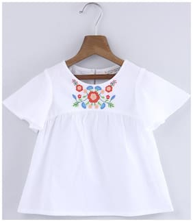 Beebay Cotton Printed Top for Baby Girl - White