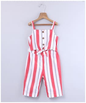 Beebay Baby girl Cotton Striped Jumpsuit - Multi