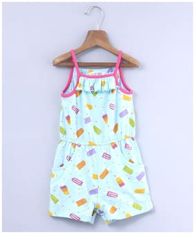 Beebay Baby girl Cotton Printed Jumpsuit - Blue