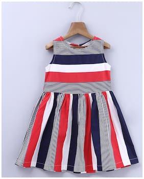 Beebay Baby girl Cotton Striped Princess frock - Multi