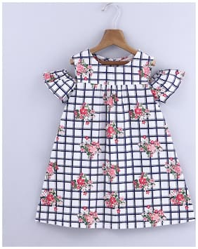 Beebay Baby Girl 100% Cotton Woven Floral Print On Check Dress (White)
