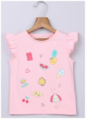 Beebay Cotton Printed T shirt for Baby Girl - Pink