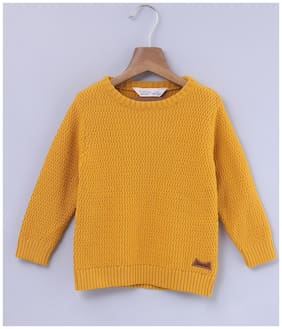 Beebay Boy Cotton Solid Sweater - Yellow