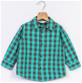 Beebay Boy Cotton Checked Shirt Green