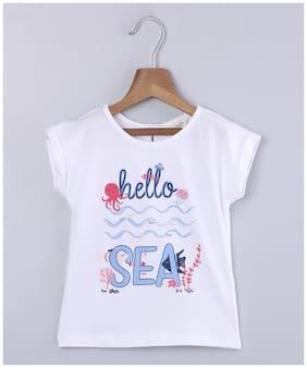Beebay Girl Cotton Printed T shirt - White