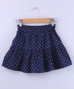 Beebay Girl Cotton Printed Tiered skirt - Blue