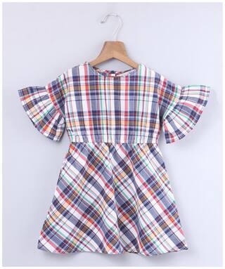 Beebay Multi Cotton Short Sleeves Knee Length Princess Frock ( Pack of 1 )