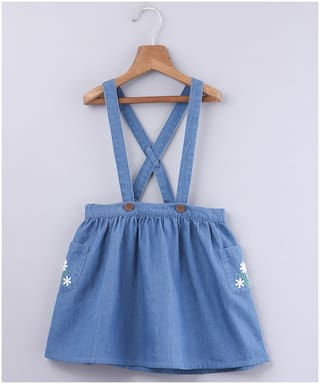 Beebay Girl Cotton Embellished A- line skirt - Blue