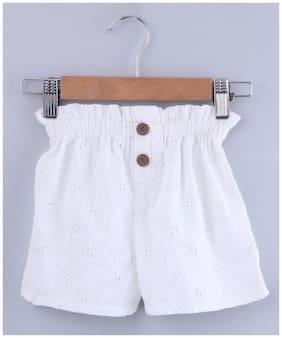Beebay Girl Cotton Solid Regular shorts - White