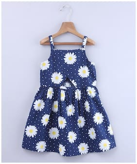 Beebay Blue Cotton Sleeveless Knee Length Princess Frock ( Pack of 1 )