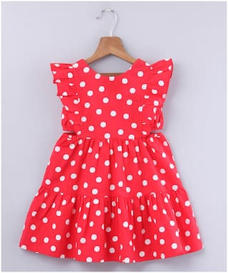 Beebay Red Cotton Sleeveless Knee Length Princess Frock ( Pack of 1 )