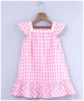 Beebay Pink Cotton Sleeveless Knee Length Princess Frock ( Pack of 1 )