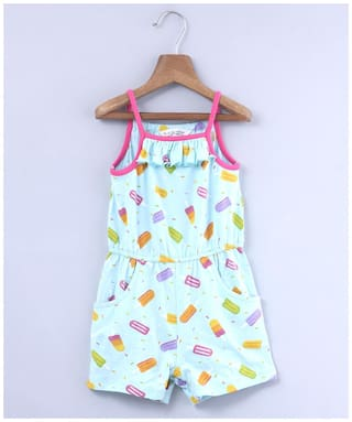 Beebay Cotton Printed Onesies For Girl - Blue