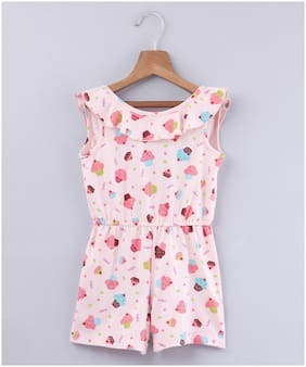 Beebay Cotton Printed Onesies For Girl - Pink