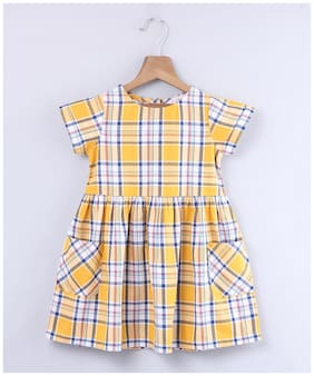 Beebay Yellow Cotton Short Sleeves Knee Length Princess Frock ( Pack of 1 )