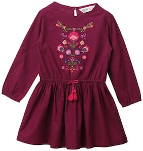 Beebay Pink Cotton Full Sleeves Above Knee Princess Frock ( Pack of 1 )