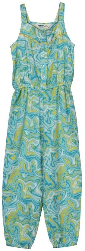 Beebay Viscose Printed Bodysuit For Girl - Blue