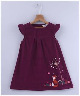Beebay Girls 100 Cotton Woven Fox Embroidered Dress (Purple)