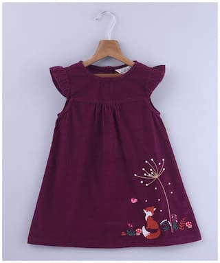 Beebay Girls 100 Cotton Woven Fox Embroidered Dress (Purple)