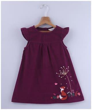 Beebay Girls Cotton Woven Fox Embroidered Dress (Purple)