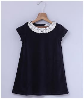 Beebay Girls MIX Lace Collar Velour Dress (Navy)