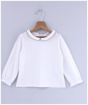 Beebay Girl Cotton Solid Top - White