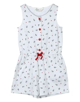 Beebay Cotton Printed Bodysuit For Girl - White