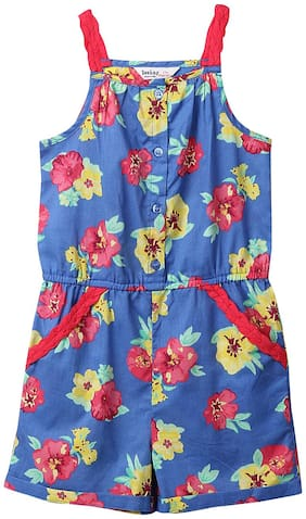 Beebay Cotton Printed Bodysuit For Girl - Blue
