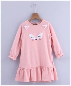 Beebay Girls Cotton Knitted Fox Applique Dress (Lt. Pink)