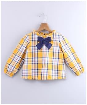Beebay Girl Cotton Checked Top - Yellow