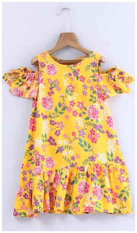 Beebay Girls 100% Viscose Yellow Floral Shoulder Cutout Dress (Yellow)